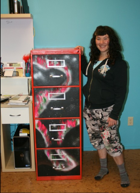 Our offices newest showpiece! An amazing upcycled filing cabinet!